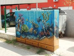 my big aquarium Street Painting, Mural Painting, Big Aquarium, Atlanta Art, Wall Murals, Street Art, Urban, Night, Places