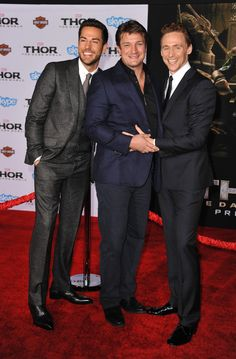 Tom Hiddleston, Zachary Levi and Nathan Fillion attend the premiere of Marvel's 'Thor: The Dark World' at the El Capitan Theatre on November 4, 2013 in Hollywood, California [HQ]