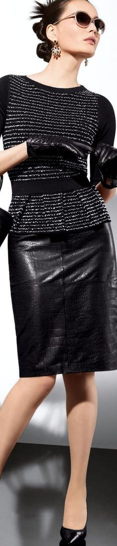 Madeleine Black Leather Skirt  LOLO 2016 Chic CEO repined by BellaDonna