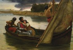 Frank William Warwick Topham (1838 - 1929) Voyage of King Arthur and Morgan Le Fay to the Isle of Avalon 1888