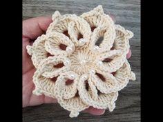 Crochet flower with pearls. Crochet Motifs, Crochet Cross, Freeform Crochet, Irish Crochet, Crochet Doilies, Crochet Flowers, Crochet Stitches, Crochet Patterns, Confection Au Crochet