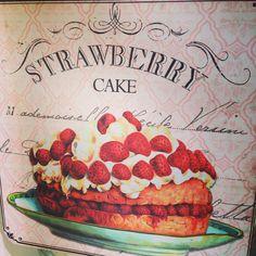 strawberry cake vintage box