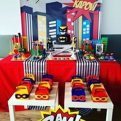 Kapow! 💥 what a fun and colorful superhero sweetstable! Love the favor boxes!! 💛🖤 credit: @francesroseevents #evedeso #eventdesignsource - posted by EVENT STYLING TIPS & VIDEOS https://www.instagram.com/eventsbyrozy. See more Event Designs at http://Evedeso.com