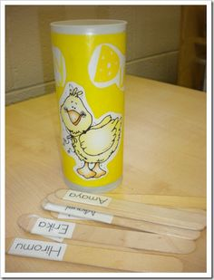 """""""Lucky Duck"""" can.  Choose 1 or 2 names (secretly) and they become the mystery person for the day.  Reveal the names at the end of the day.  If they were good, they get to choose a treat!"""