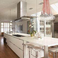 Glossy white contemporary kitchen