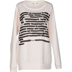 Only Sweatshirt ($54) ❤ liked on Polyvore featuring tops, hoodies, sweatshirts, white, long sleeve sweatshirt, white tops, white long sleeve top, print top and print sweatshirt