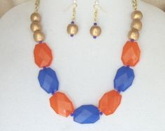 "Check out Chunky Cobalt Blue,Orange Faceted Acrylic Beads,Team Colors,23""Long Statement Necklace Set,Gold Wood Beads,Gold Chain, Earrings,#SJ5012NE on ckdesignsforyou"