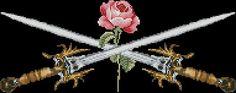 "Flowers cross-stitch pattern ""Swords and Rose"" | Cross-Stitch Club"
