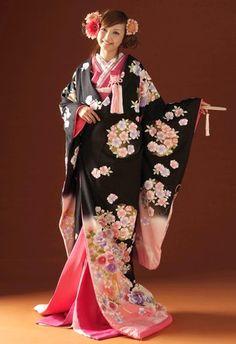 Pink and Black Bridal Iro-Uchikake