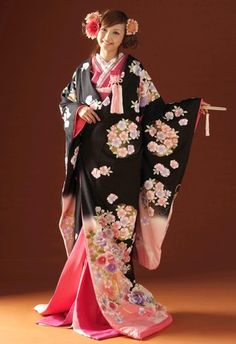 Pink and Black Bridal Iro-Uchikake