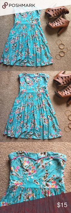 Blue Strapless Dress with Floral Design Cute summer or spring strapless dress that is a light blue with bright colored designs and a zipper in the back Xhilaration Dresses Strapless