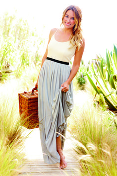 Two-fer maxi dress in solid colors