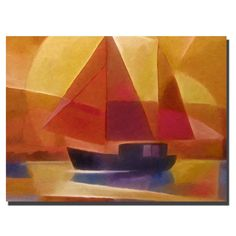 'Sunset Sailing' by Adam Kadmos Painting Print on Wrapped Canvas