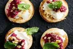 Make vegetarian finger food in a flash with these super-easy beetroot and goat's cheese-topped blinis. Blinis Toppings, Catering Food, Catering Recipes, Catering Events, Party Catering, Catering Ideas, Wedding Catering, Fruit Recipes, Cooking Recipes