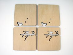 Laser cut wood coasters. Branch with bird and squirrel.. $20.00, via Etsy.