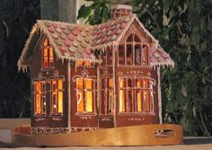 Another lit gingerbread house Gingerbread Village, Gingerbread Decorations, Christmas Gingerbread House, Gingerbread Cookies, Christmas Cookies, Christmas Decorations, Christmas Makes, Christmas Holidays, Xmas