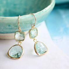 TenThings. DROPS of JUPITER. green amethyst. gold. earrings.. $48.00, via Etsy.