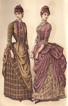 Victorian bustle dresses. 1880s. Fashion plate.