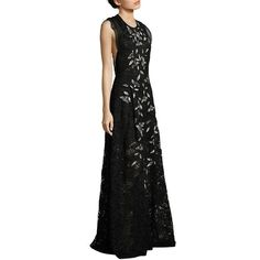 Sachin & Babi Noir Kennedy Lace Gown ($1,295) ❤ liked on Polyvore featuring dresses, gowns, apparel & accessories, floral skater skirts, circle skirt, floral dresses, floral embroidered dress and floral evening gown