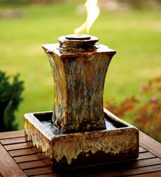 Ceramic fire and water fountain