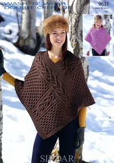 Poncho in Sirdar Wash n Wear Double Crepe DK 9631 Knitting Pattern Poncho Knitting Patterns, Knitted Poncho, Knitted Shawls, Wooly Jumper, Girls Poncho, Knitwear Fashion, Shawls And Wraps, Pulls, Knit Crochet