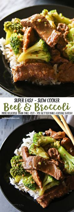Slow Cooker Beef & Broccoli - Just toss in your ingredients & in just a few hours you have an easy family dinner that everyone loves. via @KleinworthCo (Ingredients Dinner Crock Pot)