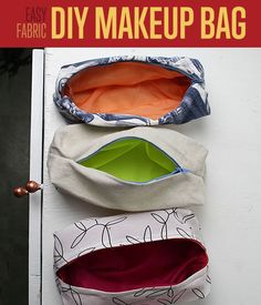 How To Sew Cute Makeup Bags | Easy Sewing Patterns | We love these custom makeup bags. What a cute, easy sewing pattern and project! http://www.diyready.com/how-to-sew-cute-makeup-bags-sewing-patterns/