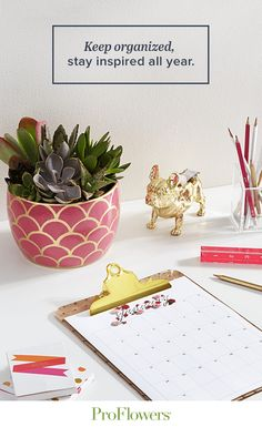 Perfect, simple yet decorative 2016 desk calendar to keep you organized, while staying inspired.