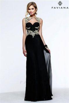 Black Gold Lace High Neck Faviana S7535 Long Prom Dress