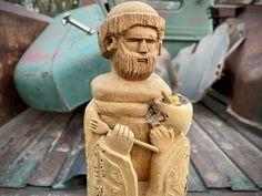 San Pasqual Wood Carving Bulto by Eric Gonzales Taos New Mexico, Patron Saint Kitchen Southwest