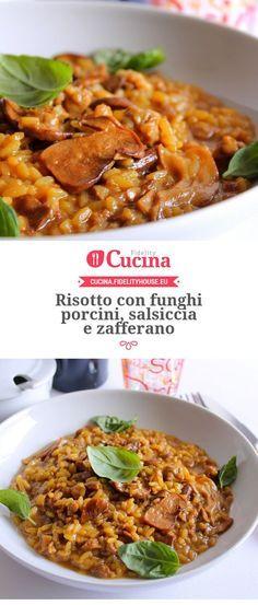 Risotto con funghi porcini, salsiccia e zafferano – Rezepte Italy Food, Best Italian Recipes, Dinner Entrees, Warm Food, Chicken Wing Recipes, Italian Dishes, Wine Recipes, Lunch, Cooking