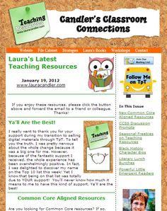 January 19th 2013 issue of Candler's Classroom Connections - Including Literary Lunch Bunch freebie, Common Core Resource Pages, Black History Character Bio freebie and more!