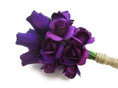 Dark Purple Flowers-Rustic Rose Arrangement-Burlap String, Spring Wedding, Romantic. $55.00, via Etsy.