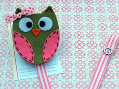 Pink and Green Felt Owl Pacifier Clip Holder  by ELLEigatorClips