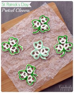 A cute and easy treat for St. Patrick's Day! Use pretzels to make clovers... http://fabulesslyfrugal.com/?p=243706