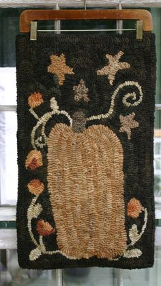 Autumn Folk Art Fall Harvest Pumpkin rug by thesimplequiet on Etsy, $150.00