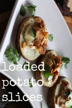 An appetizer anyone would love! These loaded potato slices are topped with cashew cream, caramelized onions, and #vegan bacon. | cadryskitchen.com