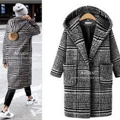 New Fashion Women Trench Coat Winter Wool Blends Plaid Houndstooth Hooded Overcoat Parkas Casaso Feminino Topcoat Plus Size Hooded Winter Coat, Winter Coats Women, Coats For Women, Clothes For Women, Sweater Coats, Winter Sweaters, Mode Mantel, Plus Size Winter, Winter Stil