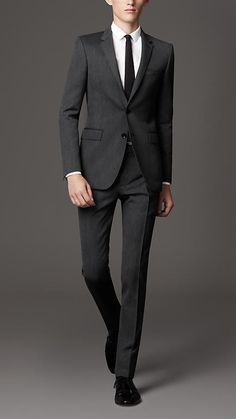 Your husband to be can wear Burberry, just like Ryan Reynolds did! Slim Fit Virgin Wool Herringbone Suit | Burberry