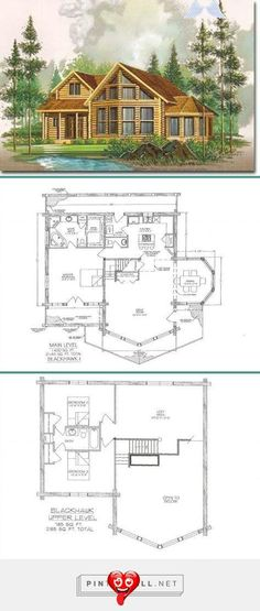 Cottage House Plans, Small House Plans, Cottage Homes, Log Home Plans, Cabin Plans, How To Build A Log Cabin, Building A Porch, Cottage In The Woods, Loft House