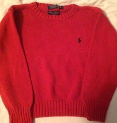 L Ralph Lauren Polo Boys Sz 5 Red Sweater   eBay