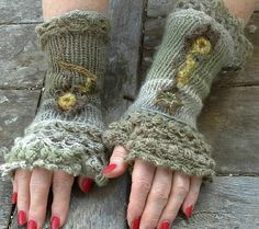 knit and freeform crochet fingerless gloves/ by BAGSBAGSBAGSBAGS