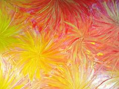 SALE - Original Abstract Painting Acrylic Sun Flowers FREE SHIPPING 14 x 18 Peach Muted Yellow Orange Gold Glitter Red Lovely Floral Art. $98.00, via Etsy.