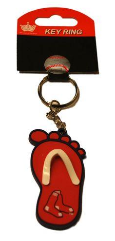 Boston Red Sox Aminco Inc. Red Blue Flip Flop Foot Key Ring Keychain