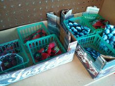 Baskets filled with berries (laminated pictures of berries!)