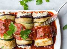 "Lasagna Rolls from our blog: The ""ricotta"" in this healthy lasagna is made with cashews — and it's just as creamy and flavorful as the original! Each serving nails your protein, healthy fat, and veggie portions perfectly."