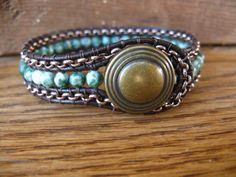 Etsy Transaction -            SALE 5.00 OFF - Gemstone Bead and Chain Leather Wrap Cuff/Bracelet, Brown leather, Tree Agate, Beaded Bracelet