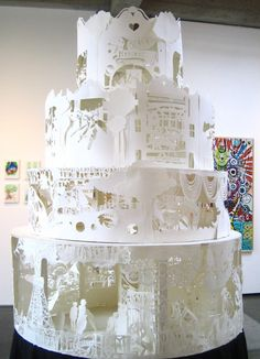 Een prachtige taart van papier. Techniek: knippen en plakken