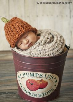 Pumpkin Beanie on etsy for our October baby