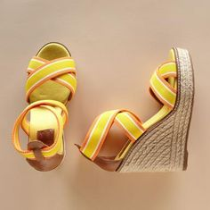 From Pajar®, the season's most wanted wedge is perched espadrille style on roped platform soles. Color-tipped elastic straps with leather trim. Cushioned footbed, rubber sole. Imported. Whole sizes 6 to 11.  4-3/4